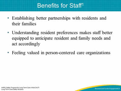 Benefits for Staff