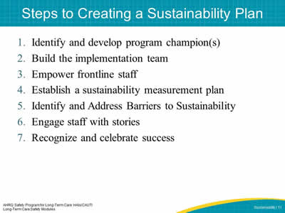 Steps to Creating a Sustainability Plan