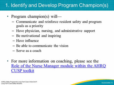 1. Identify and Develop Program Champion(s)