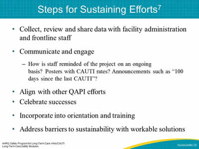 Steps for Sustaining Efforts