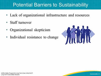 Potential Barriers to Sustainability
