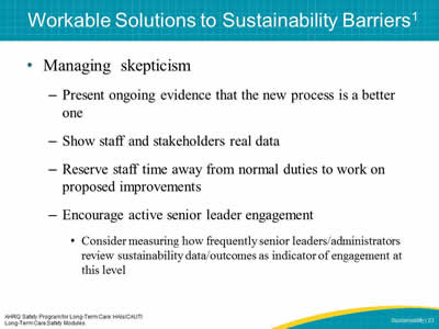 Workable Solutions to Sustainability Barriers