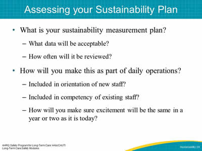 Assessing your Sustainability Plan