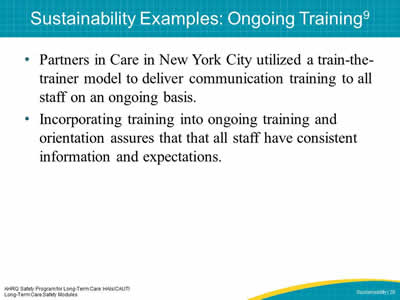 Sustainability Examples: Ongoing Training