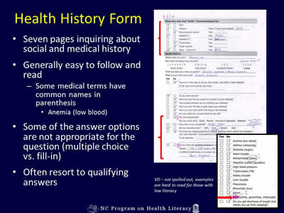 medical health history forms
