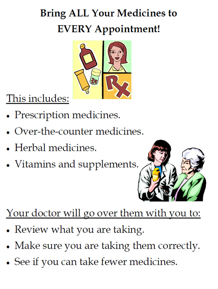 Poster text: Bring All Your Medicines to Eevery Appointment! This includes: Prescription medicines. 	Over-the-counter medicines. Herbal medicines. Vitamins and supplements. Your doctor will go over them with you to: Review what you are taking. Make sure you are taking them correctly. See if you can take fewer medicines. Images: Medication bottles and tubes, the pharmacy Rx symbol, and an elderly patient consulting with a doctor.