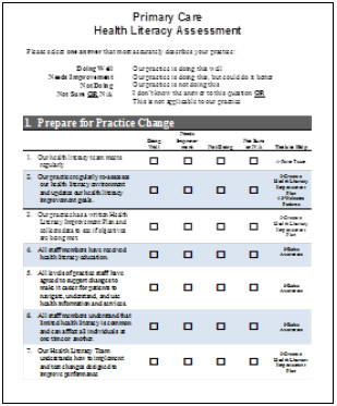 The Primary Care Health Literacy Assessment form.