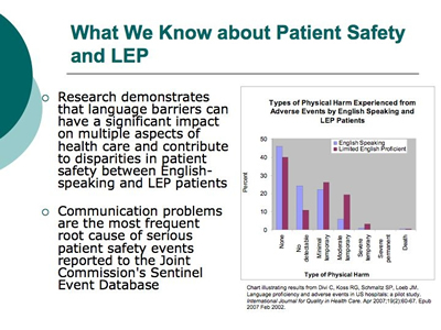 language barriers in healthcare Effective communication with patients is critical to the safety and quality of care barriers to this communication include differences in language, cultural differences, and low health literacy evidence-based practices that reduce these barriers must be integrated into, rather than just added to.