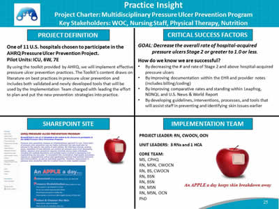 Practice Insight. Project Charter: Multidisciplinary Pressure Ulcer Prevention Program; Key Stakeholders: WOC, Nursing Staff, Physical Therapy, Nutrition.