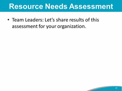 Resource Needs Assessment