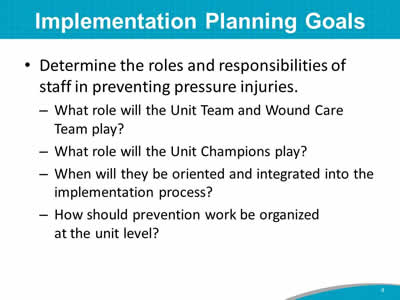 Implementation Planning Goals