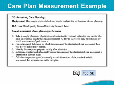 Care Plan Measurement Example