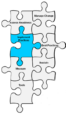 Image shows seven interconnected puzzle pieces labeled Assess Readiness, Manage Change, Implement Practices, Best Practices, Measure, Sustain, and Tools. The piece labeled Implement Practices is highlighted in blue.