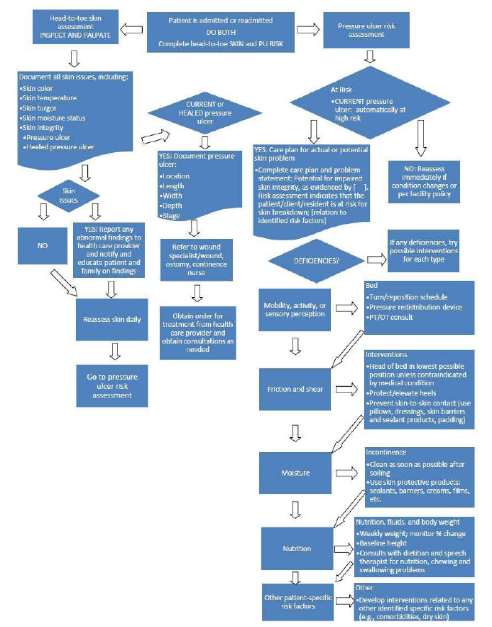 A Flow Chart Depicts The Steps To Ess Newly Admitted Or Readmitted Patient For Pressure
