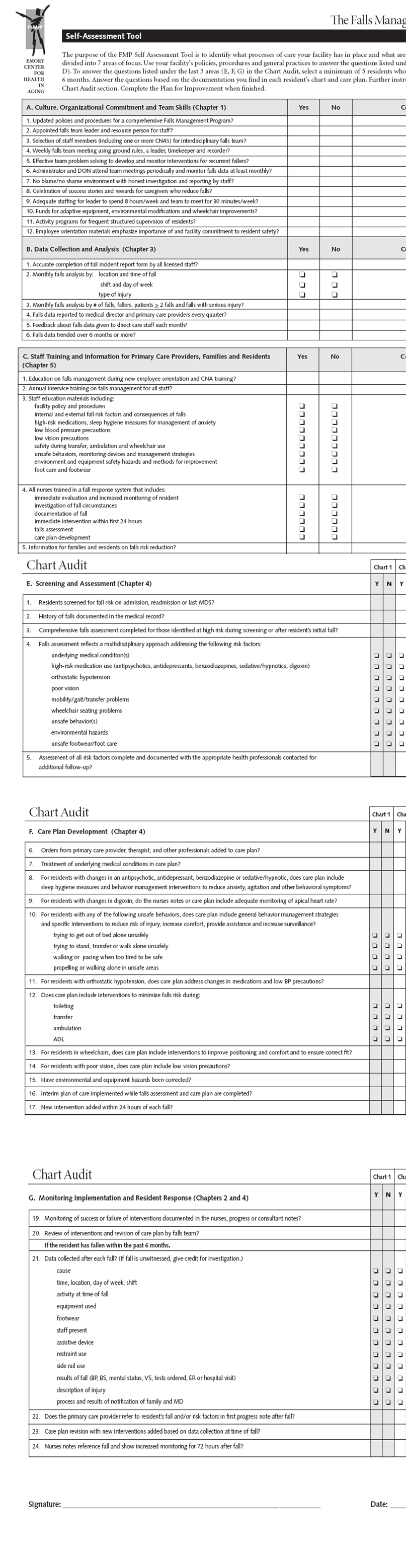All  pages of the FMP Self-Assessment Tool. Go to [D] Text Description for details.