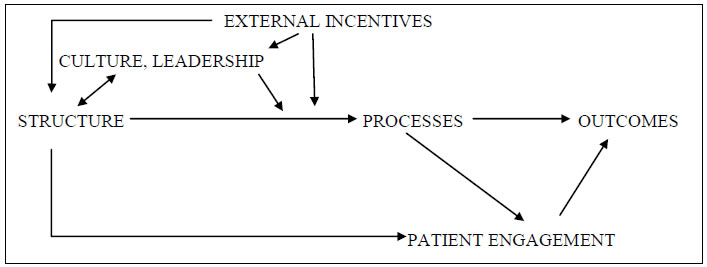Figure 1 provides a simple model of a generic delivery system organization. External incentives influence the culture and leadership as well as the structure adopted by the organization and on the processes it uses to provide and improve care. Processes lead to outcomes and patient engagement.