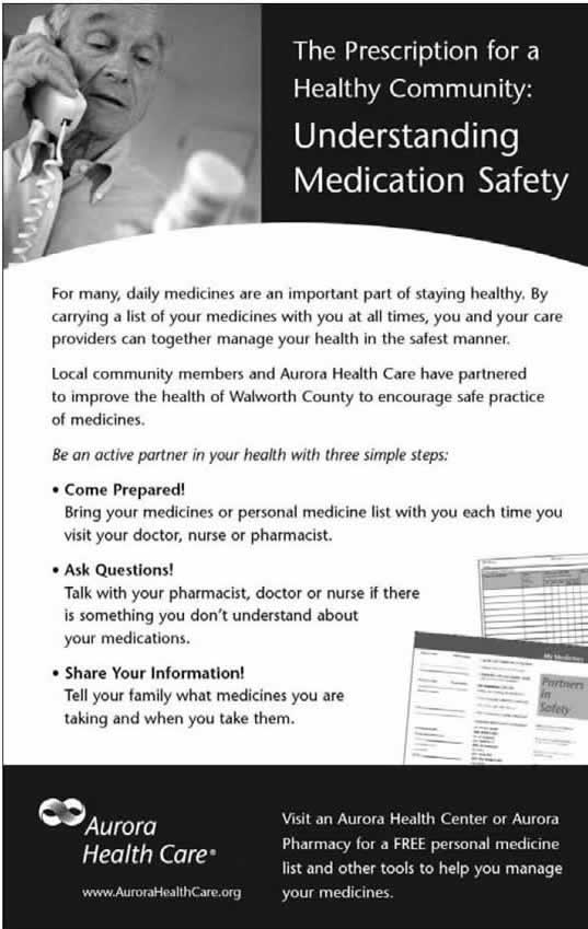 Photograph of an advertisement from Aurora Health Care. The ad features a photograph of an elderly man talking on the phone and holding a prescription bottle. The caption reads, 'The Prescription for a Healthy Community: Understanding Medication Safety' and text copy encourages patients to discuss their medications with their doctors, pharmacists, and family members.