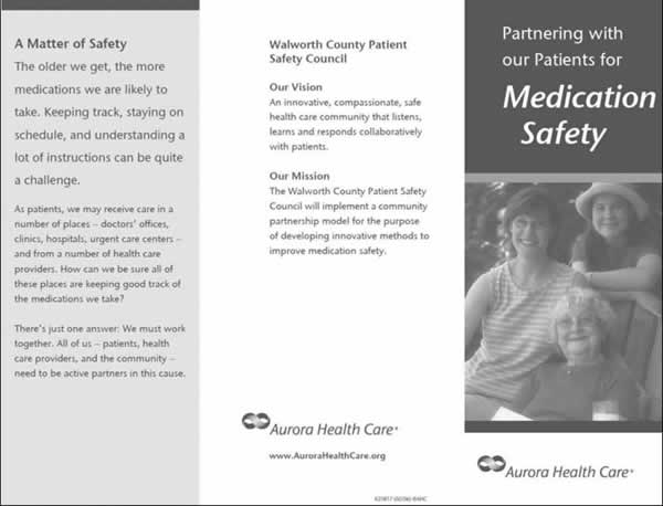 A photo of a sample brochure from Aurora Health Care. The title is 'Partnering With Our Patients for Medication Safety'.