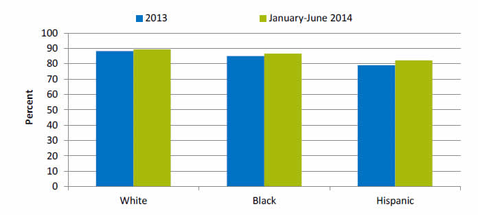 Chart shows age-sex adjusted percentage of people of all ages with a usual place to go for medical care. White: 2013 - 88.3; January-June 2014 - 89.3. Black: 2013 - 85; January-June 2014 - 86.5. Hispanic: 2013 - 79; January-June 2014 - 82.2.