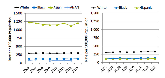 Line graphs show physicians and surgeons per 100,000 population, by race and ethnicity. Text description is below the image.
