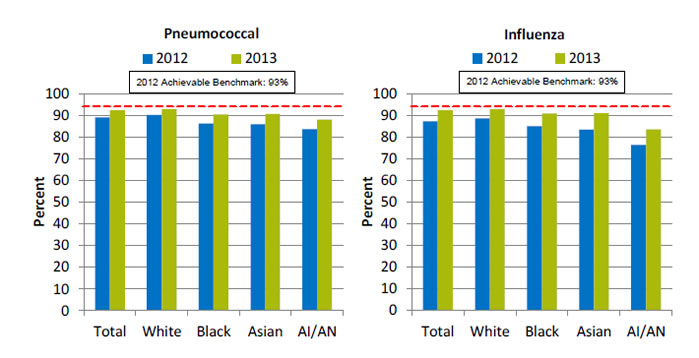 Charts show hospital patients who received pneumococcal immunization and influenza immunization. Text descriptions are below the image