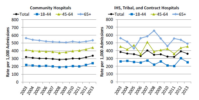 Charts show admissions with perforated appendix in community hospitals and Indian Health Service, Tribal, and contract hospitals. Text description is below the image.