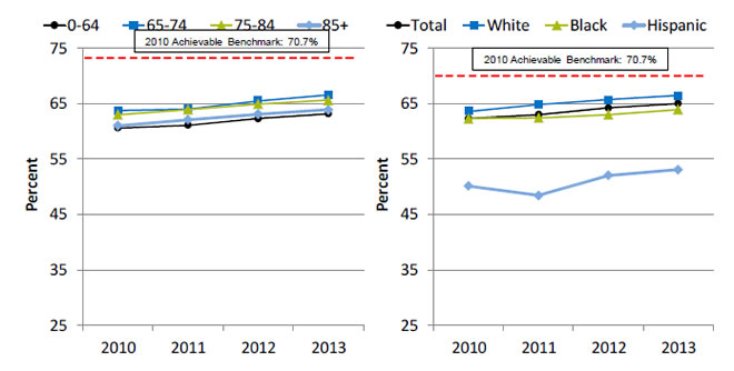 Charts show adult home health care patients whose episodes of shortness of breath decreased, by age and race/ethnicity. Text description is below the image.
