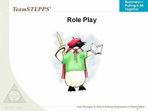 A penguin in a hat and cloak holds a wooden sword and play script.