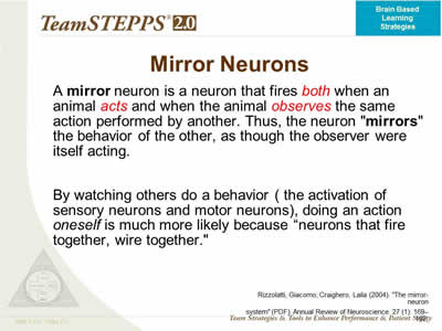 Brain based learning strategies to improve teamstepps for Mirror neurons psychology definition