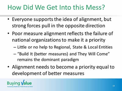 Slide 19. How Did We Get Into this Mess? Everyone supports the idea of alignment, but strong forces pull in the opposite direction. Poor measure alignment reflects the failure of national organizations to make it a priority: Little or no help to Regional, State & Local Entities; and Build It (better measures) and They Will Come remains the dominant paradigm. Alignment needs to become a priority equal to development of better measures.