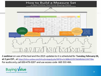 Slide 22. Image of the promotional advertisement for the February 24 webinar How to Build a Measure Set: A New Online Tool from Buying Value.
