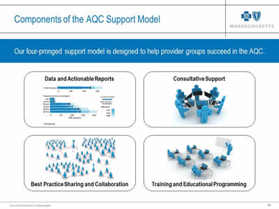 Slide 31. Components of the AQC Support Model. Our four-pronged support model is designed to help provider groups succeed in the AQC. Data and Actionable Reports, Consultative Support, Best Practice Sharing and Collaboration, and Training and Educational Programming