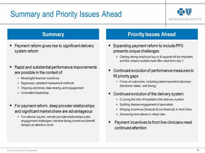 Slide 33. Summary and Priority Issues Ahead. This slide shows the summary and priority issues ahead in bulleted lists.