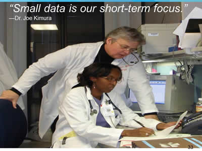Slide 33. Small data is our short-term focus. Quote by Dr. Joe Kimura