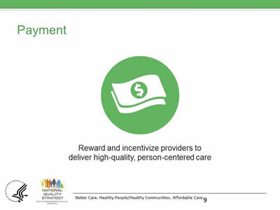 Slide 9. Payment. Green circle with money symbol. Reward and incentivize providers to deliver high-quality, person-centered care.