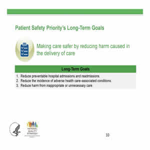 Slide 10. Patient Safety Priority's Long-Term Goals: Making care safer by reducing harm in the delivery of care. Long-Term Goals. 1. Reduce preventable hospital admissions and readmissions. 2. Reduce the incidence of adverse health care-associated conditions. 3. Reduce harm from inappropriate or unnecessary care.
