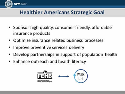Healthier Americans Strategic Goal: Sponsor high quality, consumer friendly, affordable insurance products; Optimize insurance related business processes; Improve preventive services delivery; Develop partnerships in support of population health; Enhance outreach and health literacy.