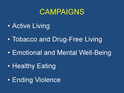 Slide 13. Campaigns. Active Living, Tobacco and Drug-Free Living, Emotional and Well-Being, Healthy Eating, and Ending Violence.