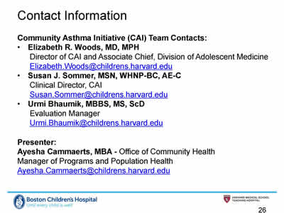 Slide 26. Contact Information. Email for the CAI Team Contacts and today's presenter.