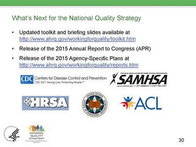 Slide 30. What's Next for the National Quality Strategy. Updated toolkit and briefing slides available at http://www.ahrq.gov/workingforquality/toolkit.htm, release of the 2015 Annual Report to Congress, and release of the 2015 Agency-Specific Plans at http://www.ahrq.gov/workingforquality/reports.htm. Logos for CDC, HRSA, SAMSHA, OPM, and ACL are shown.