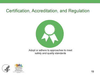 Slide 19. Certification, Accreditation, and Regulation.