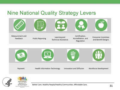 Slide 31. Nine National Quality Strategy Levers.