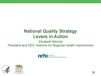 Slide 32. National Quality Strategy Levers in Action.