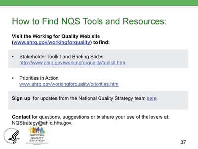 Slide 37. How to Find NQS Tools and Resources.