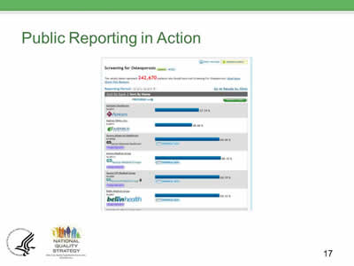Slide 17. Public Reporting in Action, continued.