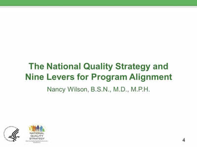 Slide 4. The National Quality Strategy and Nine Levers for Program Alignment.